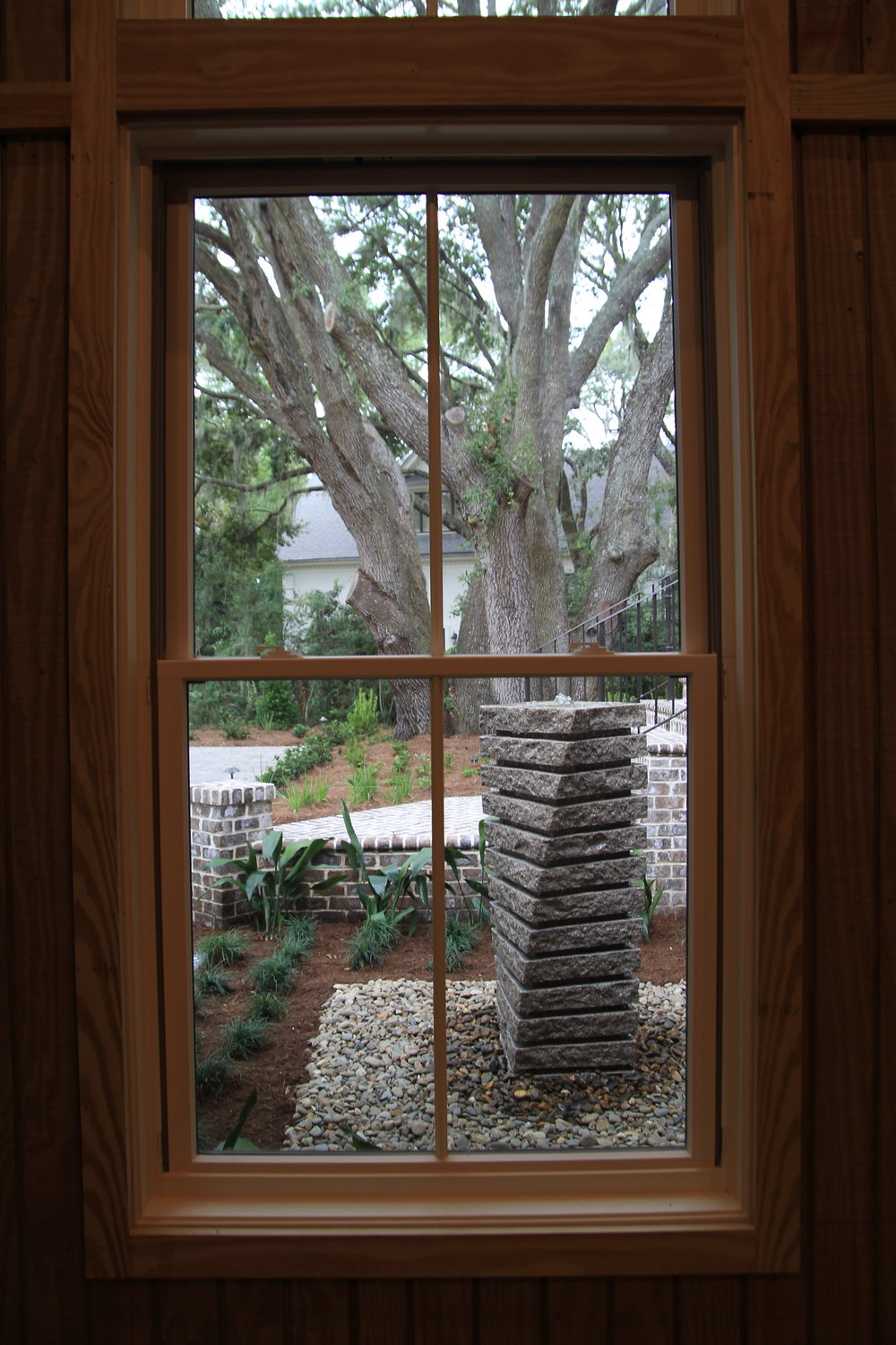 We love this shot of the water feature at the front entry.