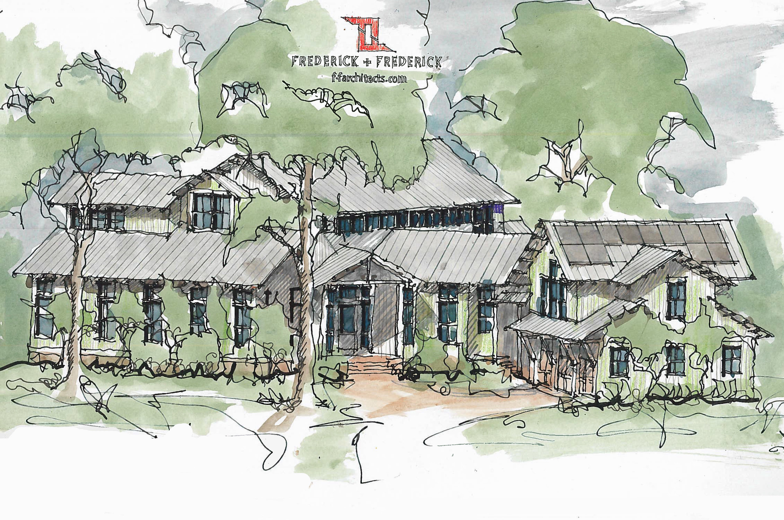 Here's a sketch with the carriage house shown.