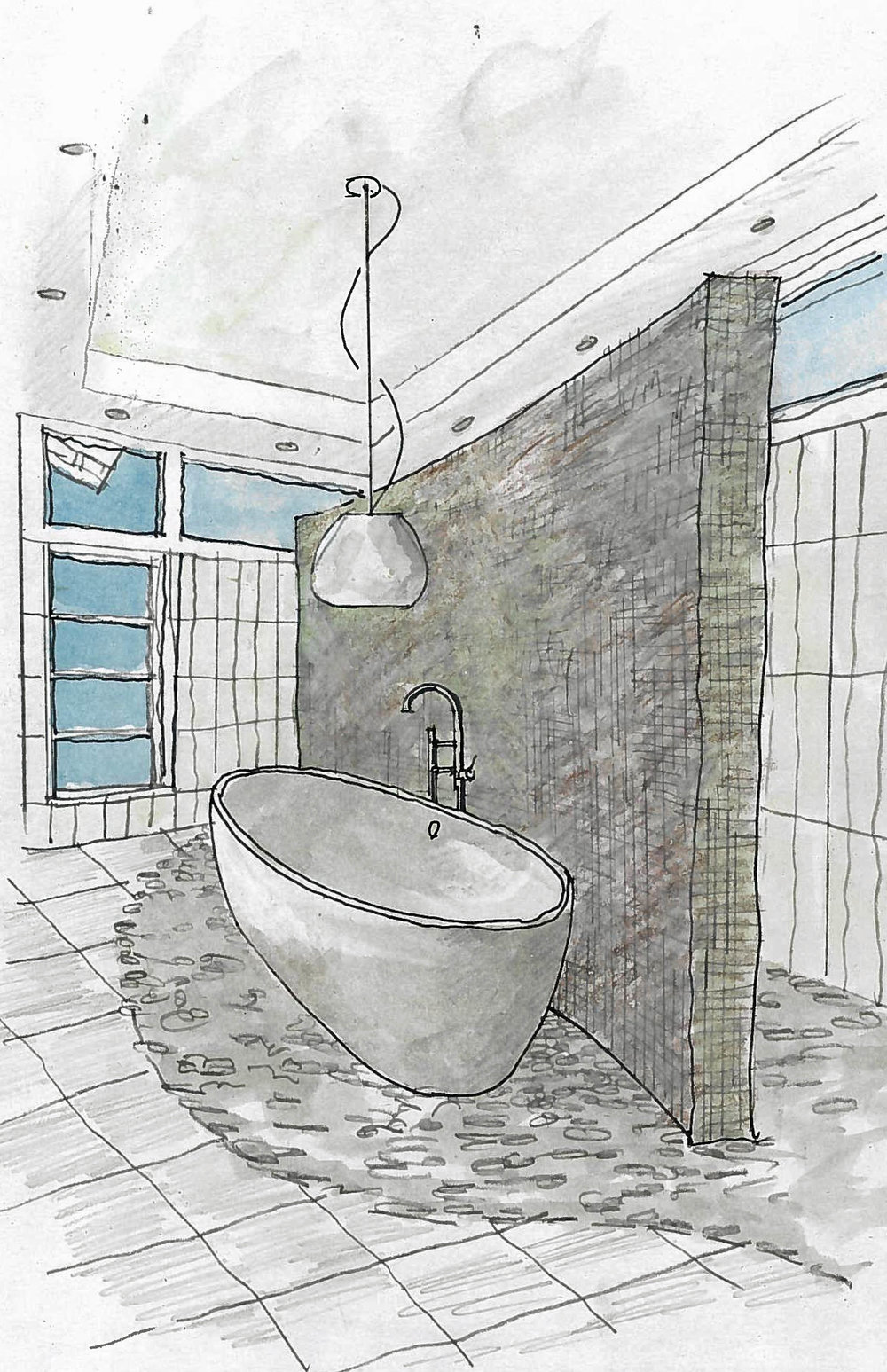 This sketch shows how the master bath will look with the tub and light fixture installed.