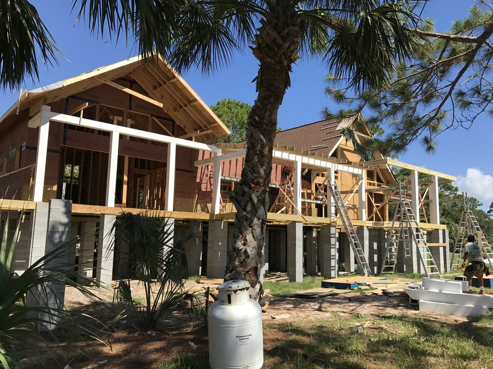 Our clients on Fripp Island invested in complying to the building code by raising the first floor by about 6 feet. Flood waters were reported to have been up to 4' under their house, which would have certainly flooded their house prior to raising it.