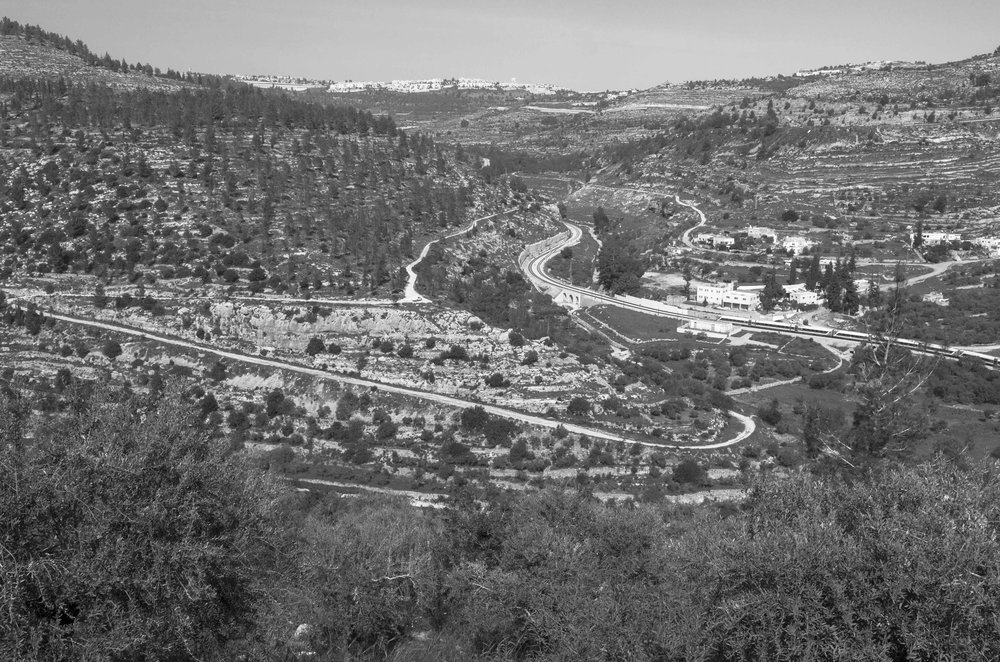 Battir village area: the Israeli train railway and surrounding Israeli settlements, 2016