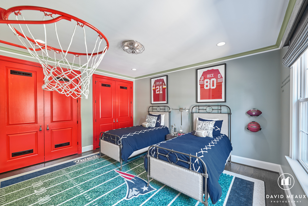 Basketball sports themed room designed by Grace Thomas Designs.