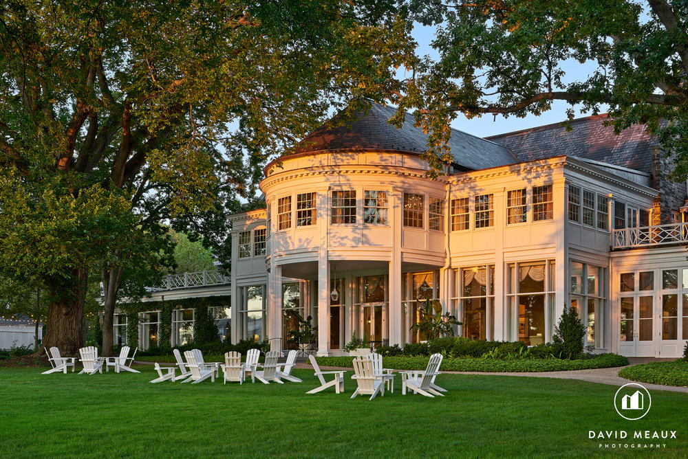 Chevy Chase Club - Club House Sunset Exterior with Adirondack Chairs