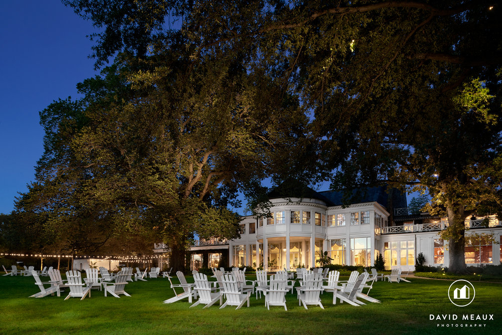Chevy Chase Club - Club House Twilight Exterior with Adirondack Chairs