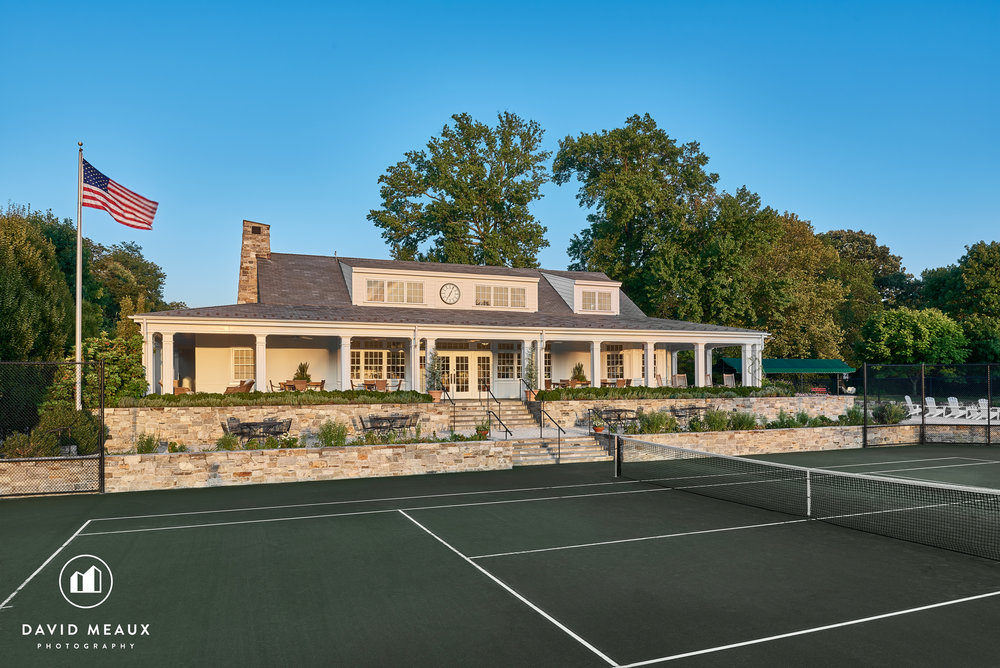Sunset image of the Tennis Center, Chevy Chase Club, MD.