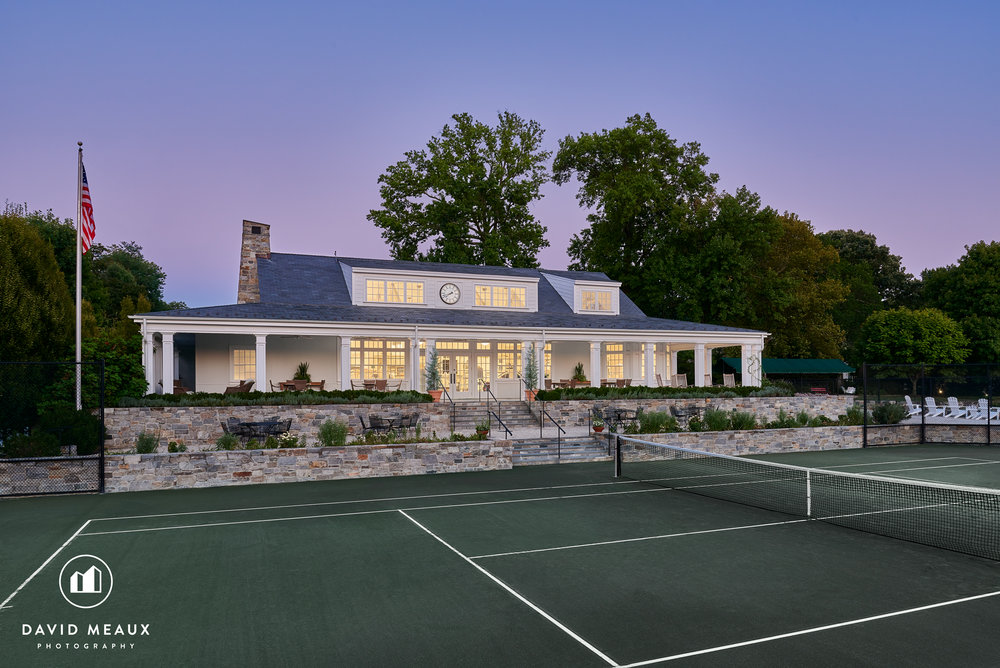 Twilight image of the Tennis Center, Chevy Chase Club, MD.