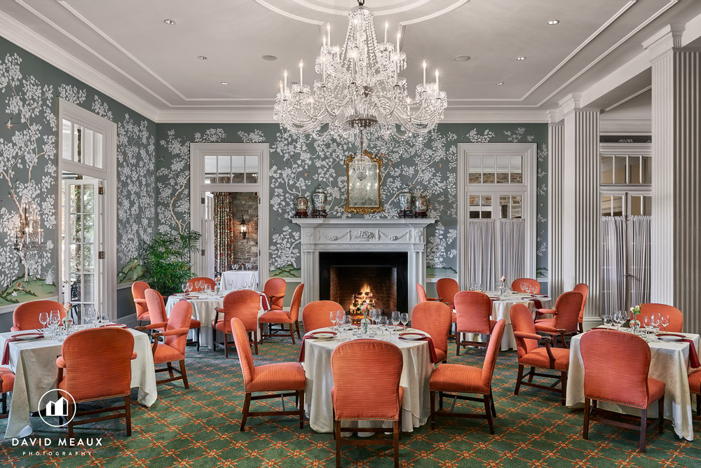Maryland Room, Chevy Chase Club's Club House. Each dining chair was spotlighted with a hot light to capture the ambience of the room.