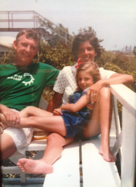 At the Sea View Inn, Pawleys Island, with my Mom and Dad, around 1981.