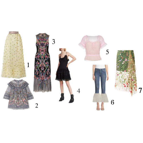 Sheer:  1.   Ganni Embellished Tulle Maxi Skirt   2.   Needle & Thread Embroidered Tulle Top    3.   Marchesa Notte Beaded Embroidered Tulle MiniDress   4.   All Saints Sheer Black Dress   (Layer it over a tee... Super versatile!)  5.   Staud Tulle Top   (Great Price!) 6. For the Fashionably Adventurous:   Tu Es MonTresor Tulle Hem Jeans   7.   Marques' Almeida Embroidered Tulle Skirt