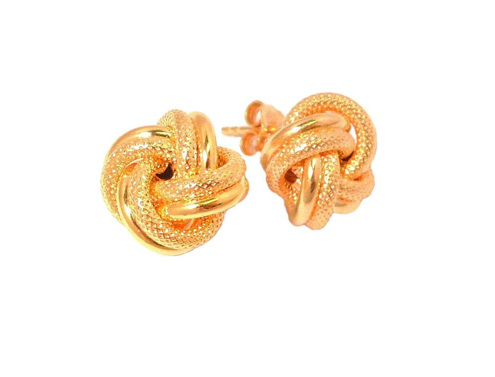 Gold Knot Stud Earrings