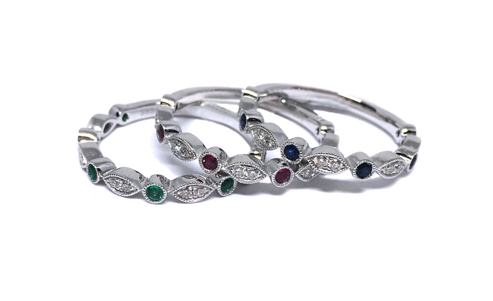 Diamond & Gemstone Stacking Rings