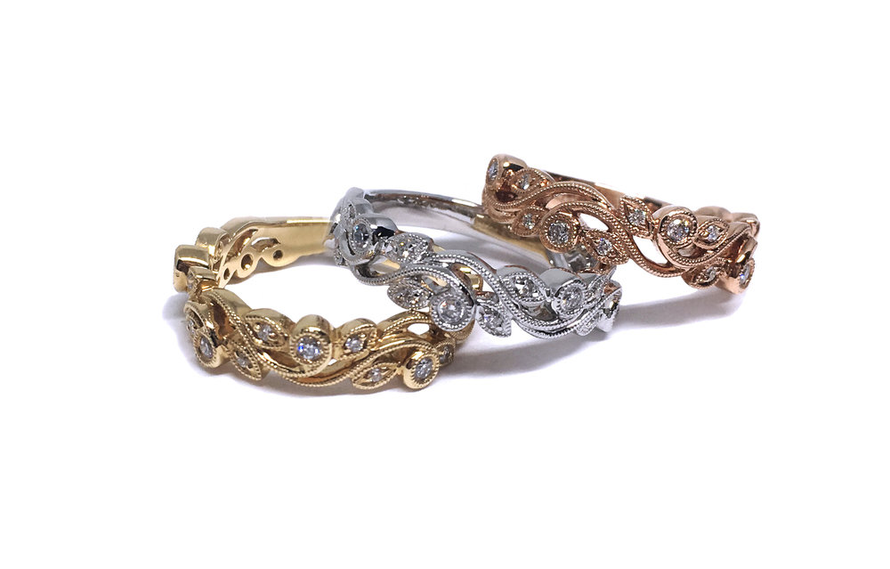 Vine Stacking Rings available in White, Yellow and Rose Gold