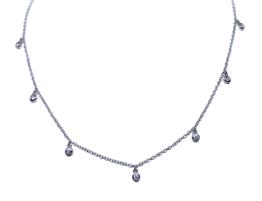 14K White Gold Diamond Drops Necklace