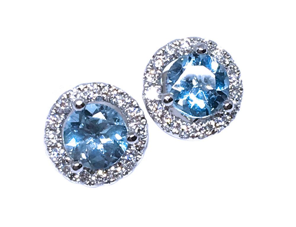 Aquamarine & Diamond Halo Earrings