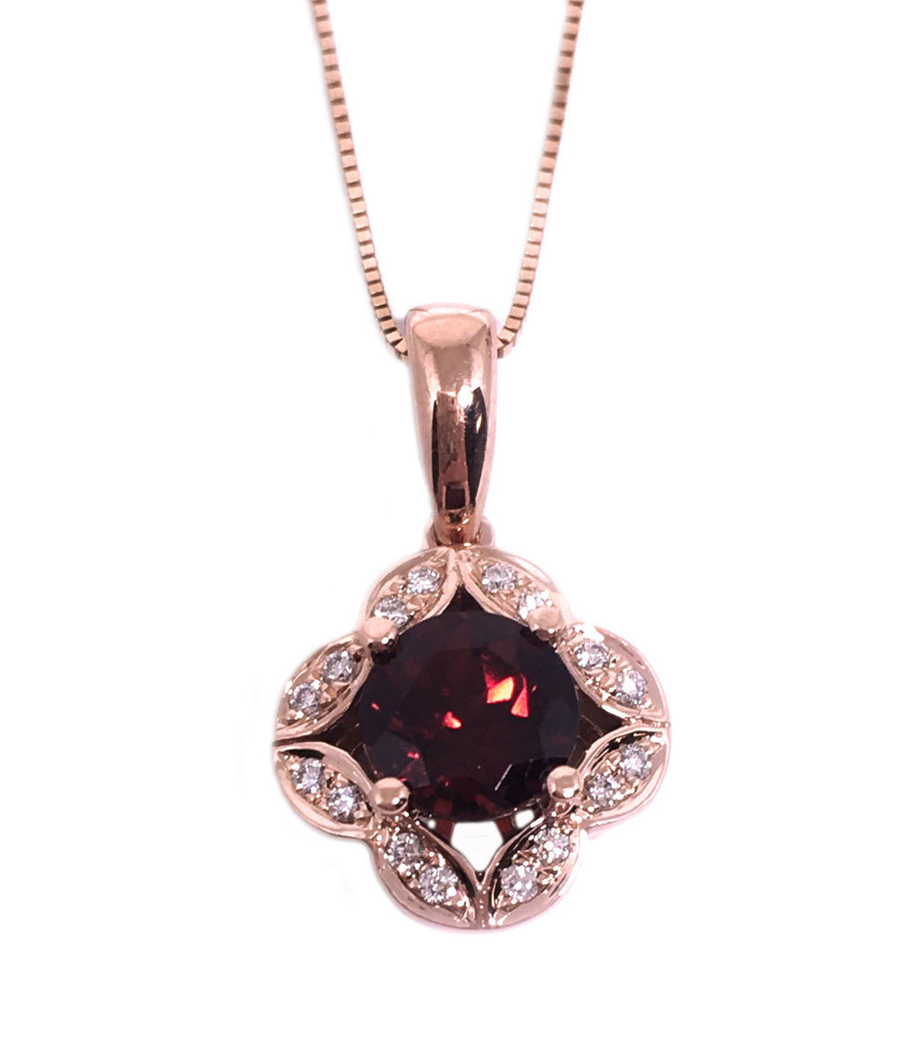 Rose Gold Garnet & Diamond Necklace