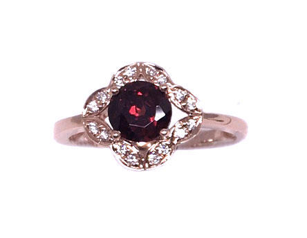 Rose Gold Garnet & Diamond Ring