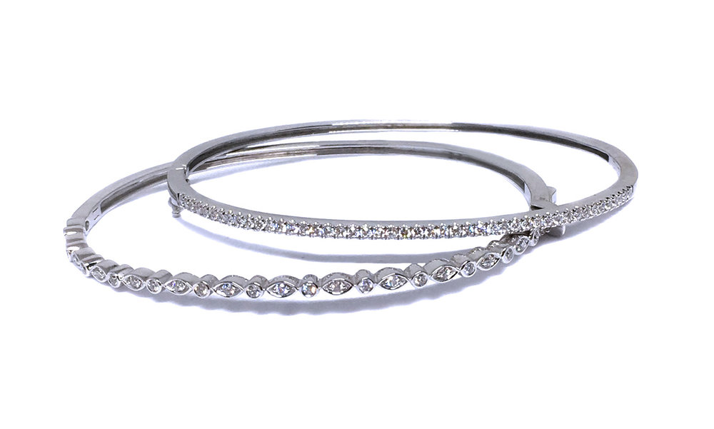 14K White Gold Diamond Bangles