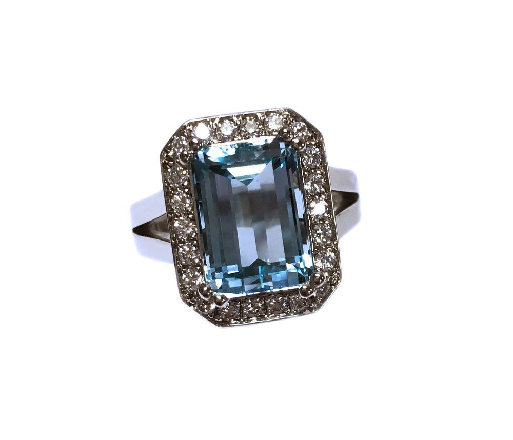 Custom-Designed Aquamarine Ring