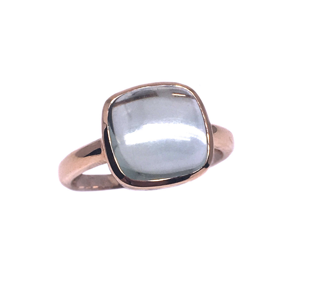 Rose Gold Green Quartz Ring