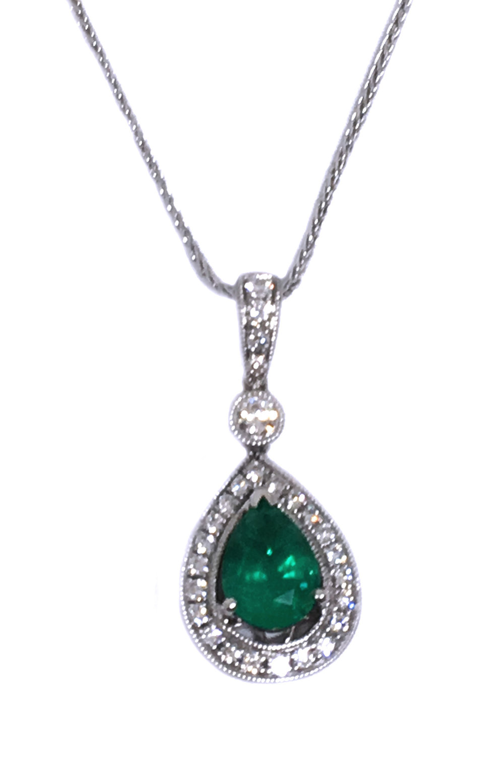 White Gold Emerald & Diamond Pendant