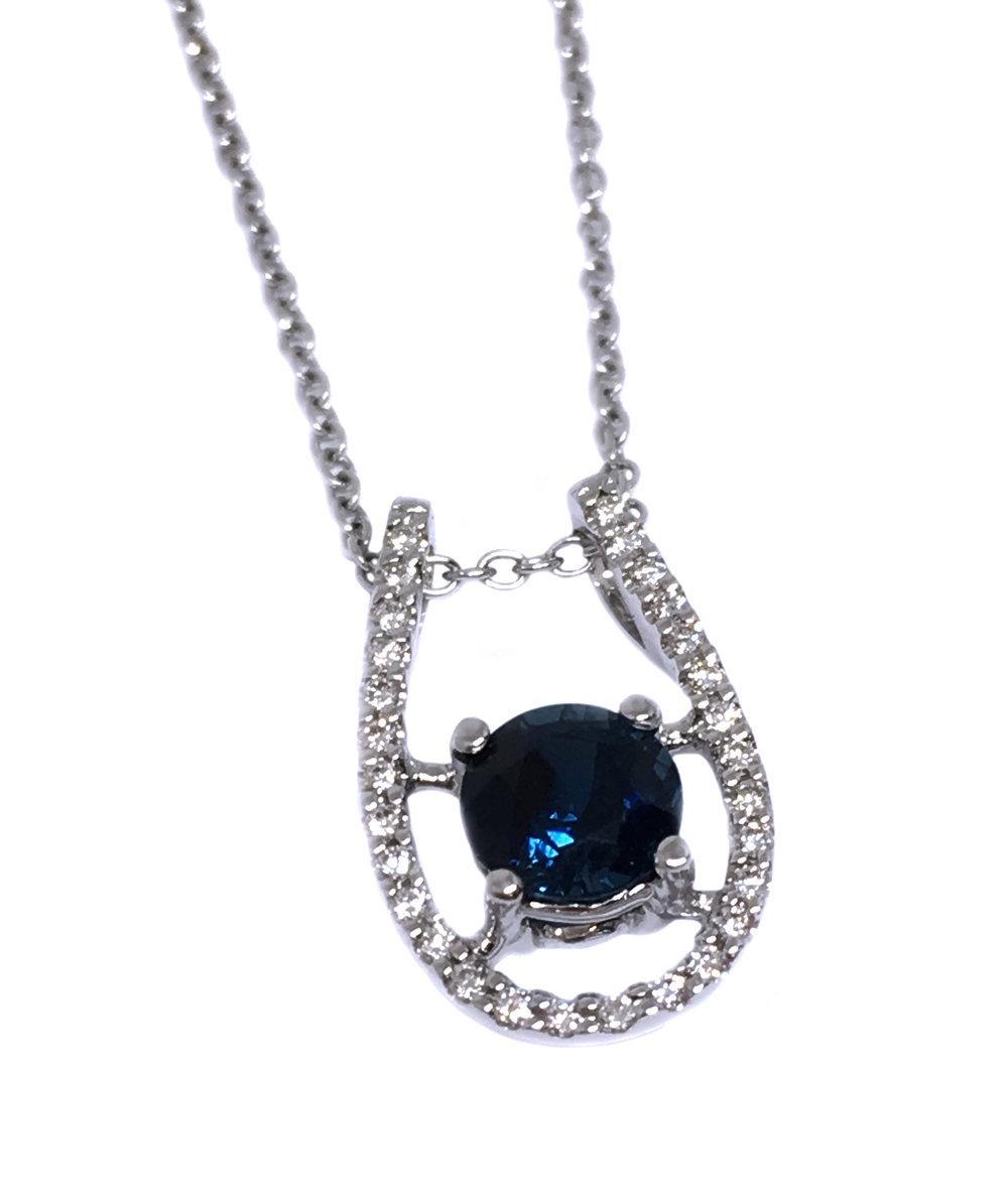 White Gold Sapphire & Diamond Pendant