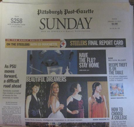 Beautiful Dreamers on the front page of the Pittsburgh Post-Gazette's Early Edition