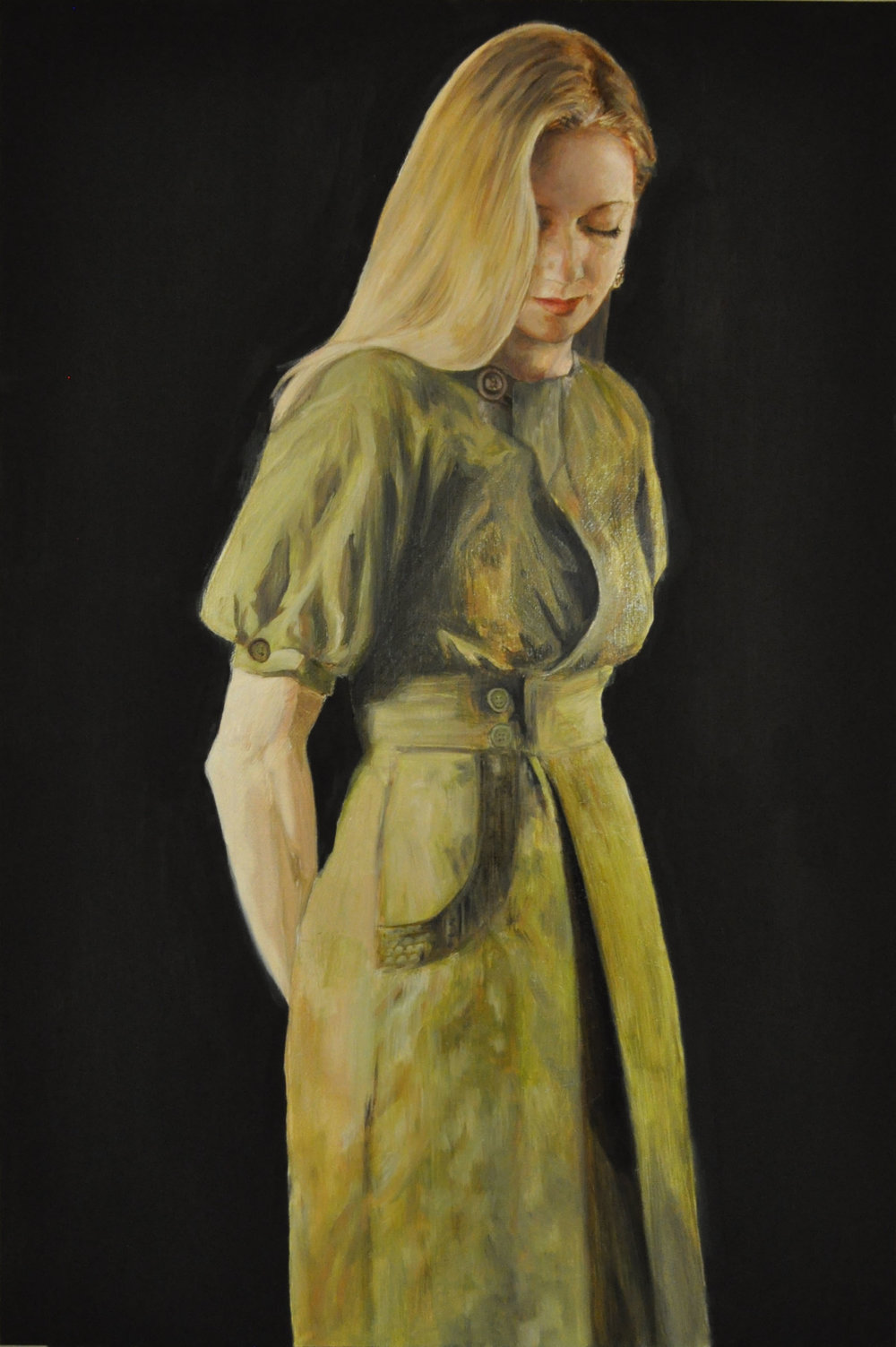 "Julia, oil on mounted wood panel, 36"" x 24"""