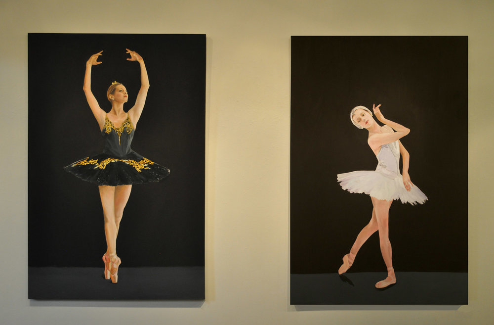 Swan Lake (Odette and Odile), Oil on Canvas, 6 ft. x 4 ft. each (a little under life size) Inquire for details.