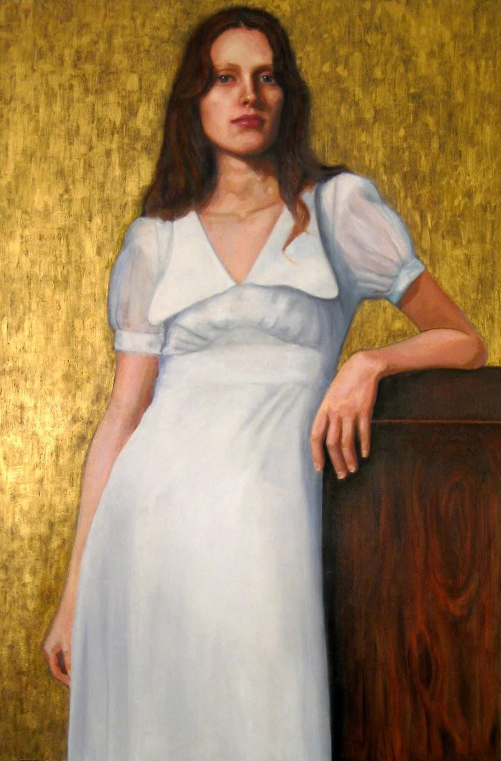 "Sarah in a White Dress, oil on mounted wood panel, 36"" x 24"""