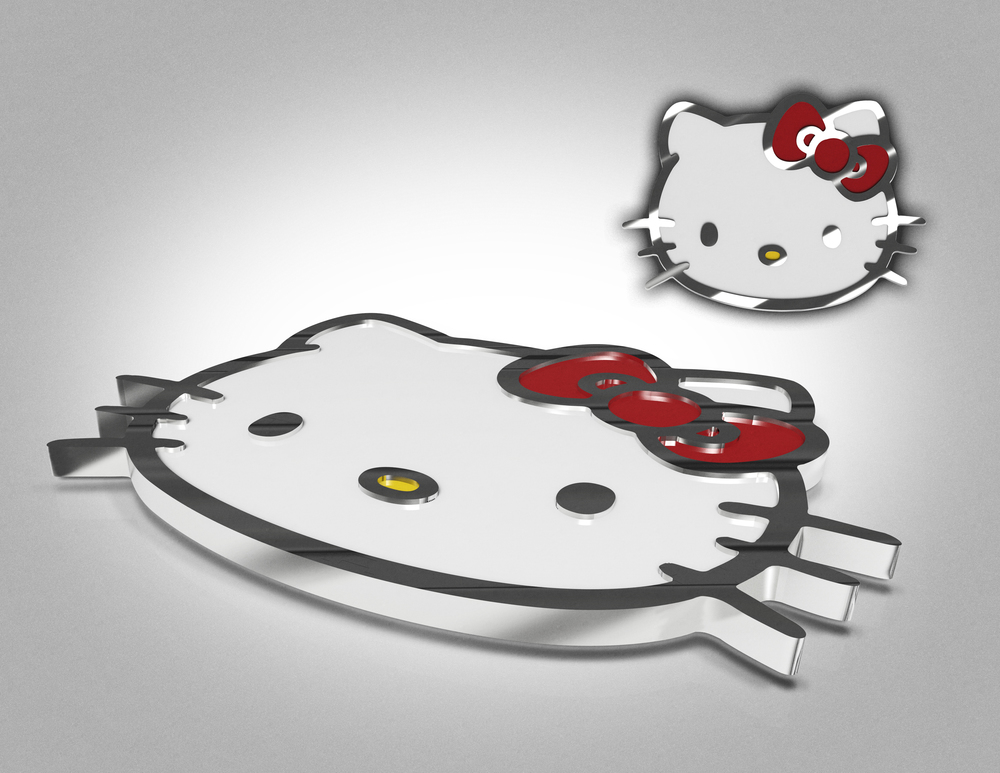 Static Renderings of Hello Kitty Brand Badge
