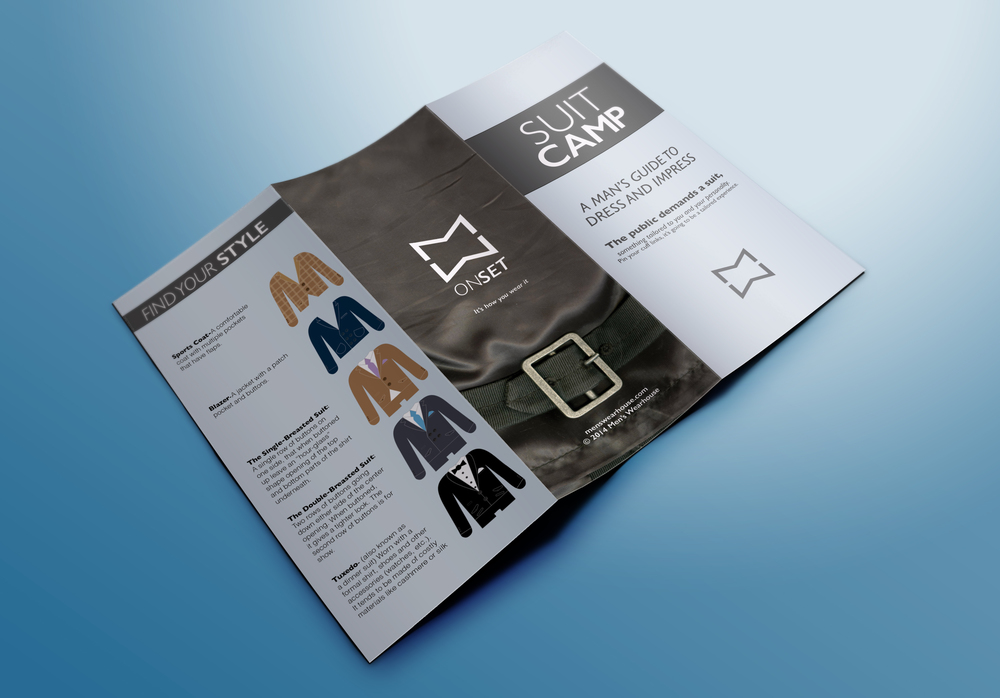 Educational brochure, describing all the different features and accessories accompanying formalwear.