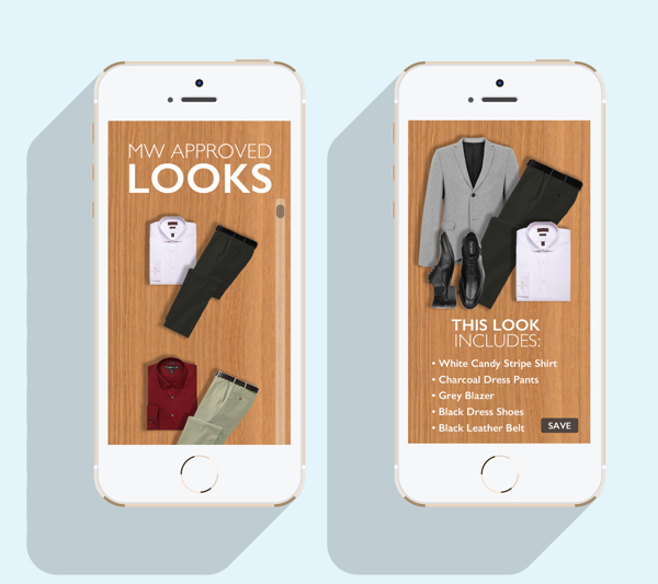 My Wardrobe App then guides to selected looks in which the user can click to expand details on the look. All looks can be programmed by the viewer to have a better sense of style on their own without 'girlfriend assistance'.