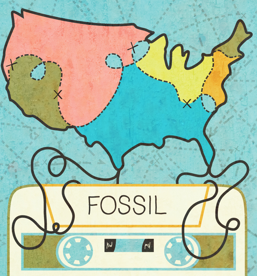 """Client: Fossil  Objective: To celebrate 30 years, Fossil held a contestto design a tin based off of """"30 Years of theOpen Road"""". This is one of the 30 international designs to have been chosen by Fossil themselves.  Requirement: Must be inspired by 50s-60s travel."""