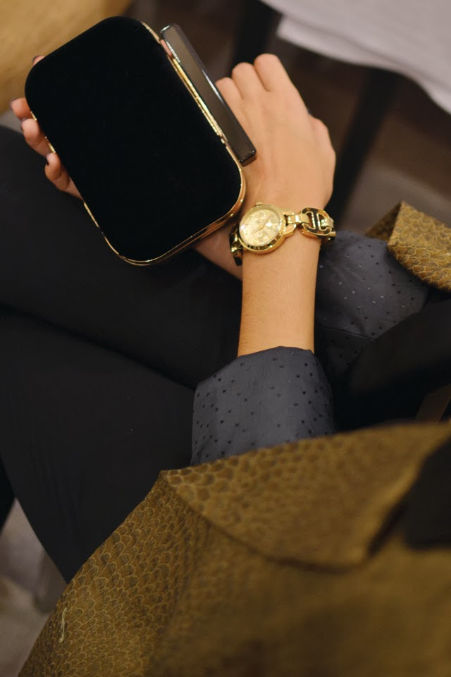 Left  :   Michael Kors   watch at   VIP  ;    Mei Boutique    clutch bag