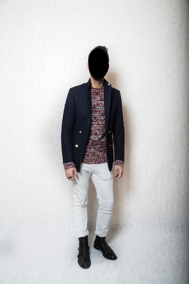Asos blazer and jeans, Zara jumper, Alexander McQueen boots