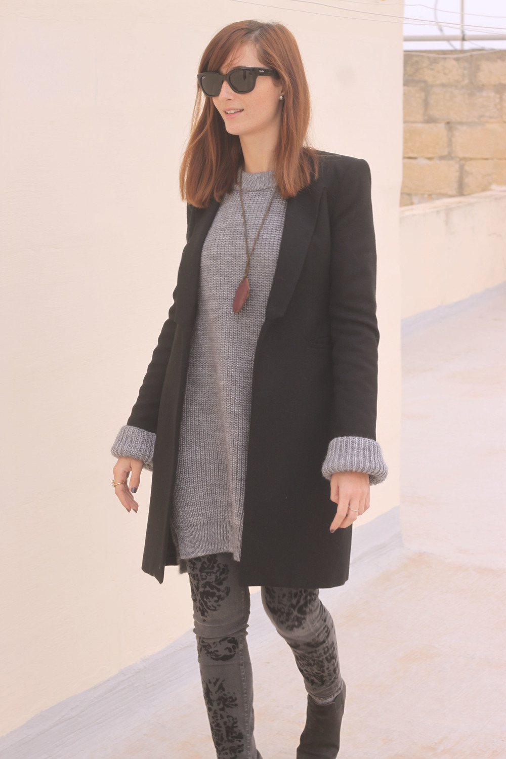 Coat, sweater dress and trousers by Zara, Shoes by Sixtyseven, Sunnies by RayBan, Vintage necklace, Ring by Ottoman Hands
