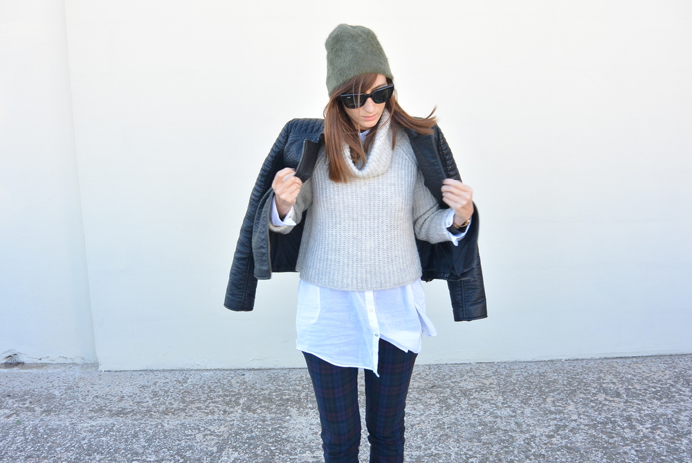 Jacket by Mango, Sweater, Shirt and Trousers by Zara, Sunnies by RayBan, Beanie by H&M