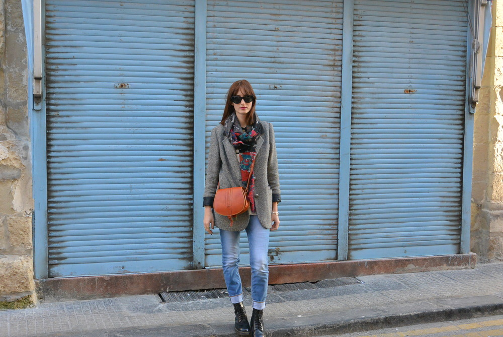 Vintage Blazer, Scarf from Milan, Boots by Dr Martens, Jeans and Shirt by Zara, Satchel bag from market in Paris