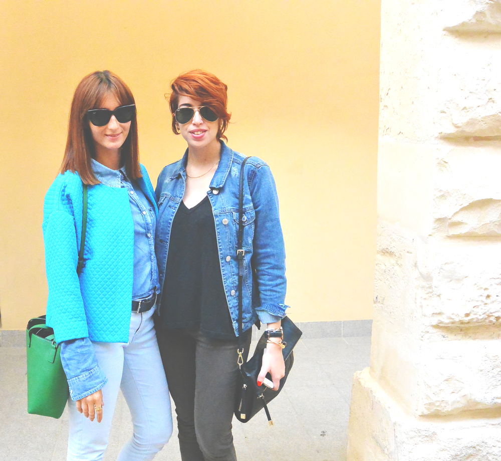 Nicole – Jacket by Mango, T-shirt by Brandy Melville, Trousers by Massimo Dutti, Bag by Max&CO., Sunglasses by Ray-Ban, Shoes by ALDO Claire – Jacket by Topshop, Shirt by Crafted, Jeans & Bag by Zara, Sunglasses by Ray-Ban, Shoes by Chinese Laundry