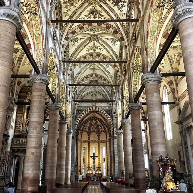 Gothic mornings at Chiesa di Santa Anastasia #verona #italia #architecture #gothic #santaanastasia #travel #travelgram #instatravel #traveling #church #art