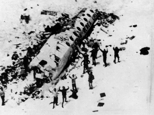 The survivors at the crash site as seen by the approaching rescue helicopters.
