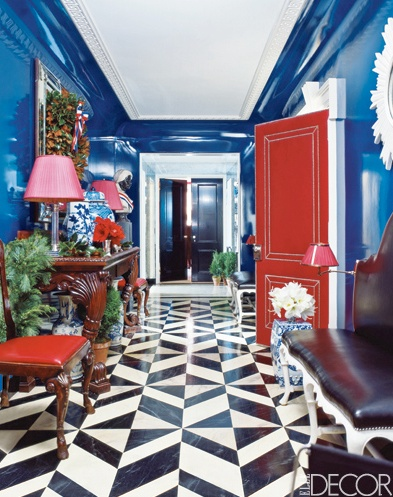 Image Credit  Designer Miles Redd always knows how to pull off the proper amount of drama in a room, without causing too much of a stir. The above foyer is one of my favorite applications of blue. Lacquered and shiny, I'll take it!