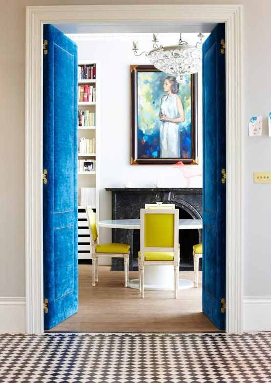 Image Credit  My oh my, these upholstered doors have me swooning. I personally think that they are stunning, The nail head paired with the luxe blue velvet makes me giddy!