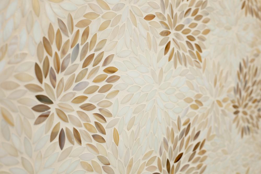 floral artistic tile. luxury bathroom. lisa gilmore design