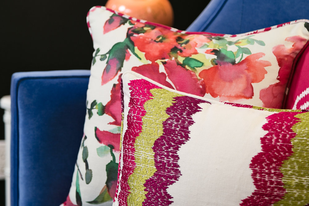 hot pink_pattern_mixing_pillows_floral_lisagilmoredesign