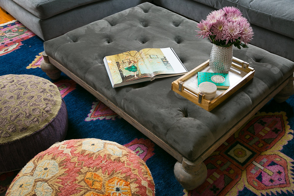 colorful area rug-pattern poufs-tuftedottoman - lisa gilmore design