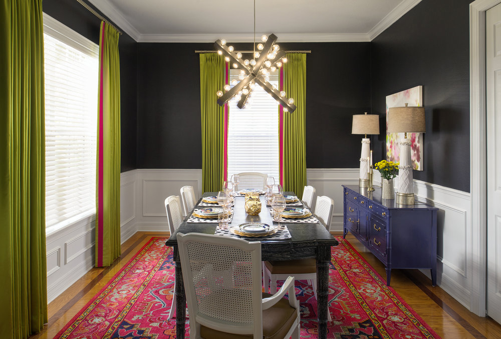 Colorful and eclectic dining room by Lisa Gilmore Design