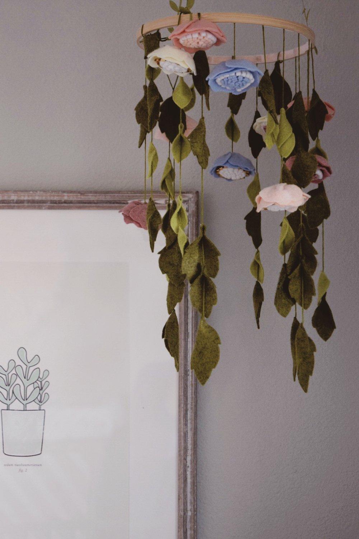 Delicate handmade felt flower mobile- Lisa Gilmore Design