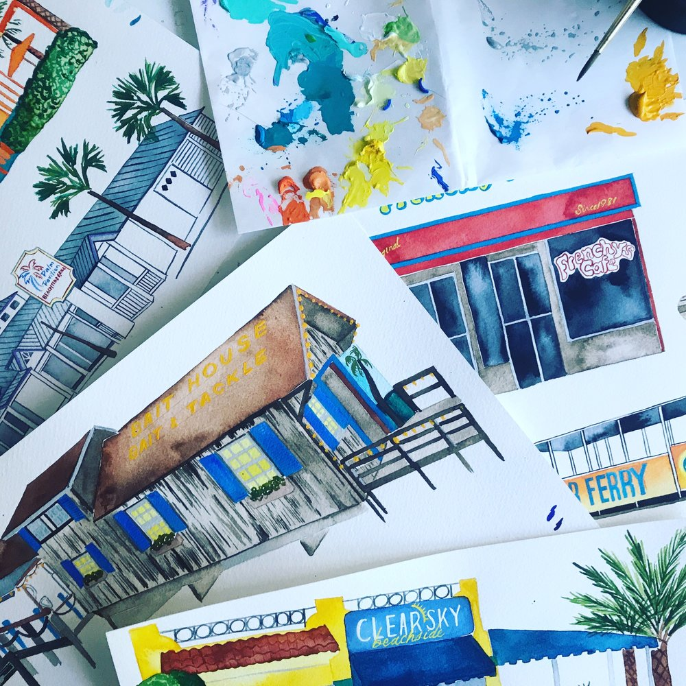 Works in progress of: The Bait House, Clear Sky Cafe, Frenchie's Original Cafe, Clearwater Ferry and Palm Pavilion. Each piece of architecture that is included in custom maps is first hand painted as a full scale painting and then layered on top of a hand painted background, digitally.