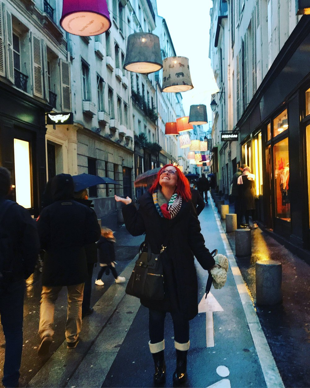 Lisa having a dreamy moment standing under the beautiful lanterns adorning the streets at Deco Off.